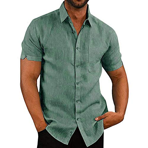 YOcheerful Men's Summer Tops Casual Slim Short Sleeve Pocket Shirts Button Down Tops Loose Beach Blouses(Green, L)