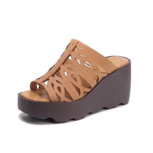 Sandalias Amazing chanclas Cuñas Zapatillas Mujer Verano Moda Gruesa Parte Inferior Desgaste Exterior Zapatos de mujer Casual (Color : B, Tamaño : EU35/UK3/CN34) A