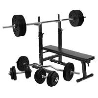 Gorilla Sports Hantelbank mit Hantelset und 100kg Kunststoff, 10000299