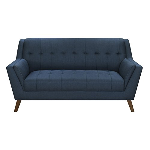 Emerald Home Binetti Navy Loveseat with Angular Arms and Legs, Deep Tufting, and Stitching Details
