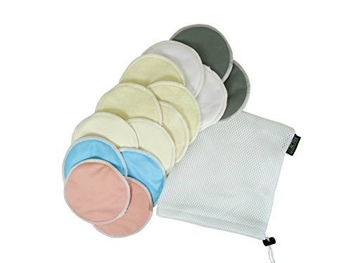Go Active Lifestyle Organic Bamboo Nursing Pads (14 Pack) With Laundry Bag – Ultra Soft, Reusable, Hypoallergenic, Washable Breastfeeding Pads