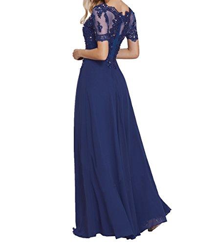 Damen Braun Elegant Festlichkleider Abendkleider Abschlussballkleider Partykleider Ballkleider Langarm Chiffon Charmant Spitze pUAw4qq