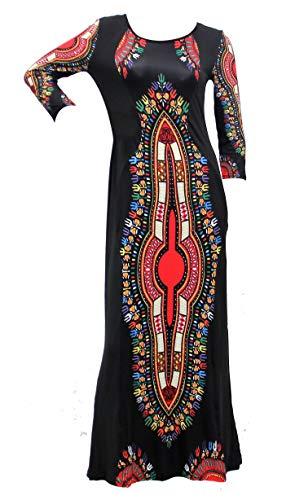 FN Ankle Length Dashiki Dress 3/4 Sleeve African Print Women Dashiki Dress - -