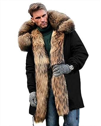 Roiii Mens Winter Warm Thick Faux Fur Waterproof Outdoor