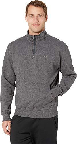 Champion Men's Powerblend Quarter-Zip Fleece Jacket, Granite Heather, Medium
