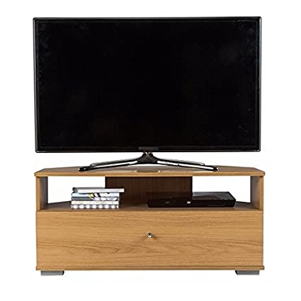 new products 2c1a1 85069 Corner TV Stand Oak Effect 1 Drawer Entertainment Television Cabinet Montana