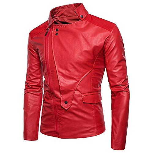 Bolayu Men's Leather Motorcycle Bomber Jacket Hoodless Full Diagonal Zip Up Winter Warm Casual Retro Cool Moto Biker Coat Red (Flannel Lined Action Jacket)