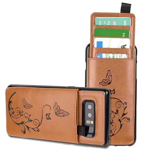 Galaxy Note 8 Wallet Case, Slim PU Leather Embossed Butterfly Design with Matching Detachable Slide Out Card Slot Organizer for Women [Butterfly Pull Out - Taupe]