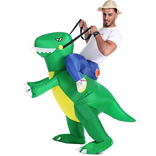 In And Out Burger Halloween Costume (Inflatable Dinosaur T-Rex Costume Fancy Dress Halloween Blow up Costumes Adult/Kids (Green Dinosaur Adult(Fit)