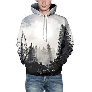 Photno Mens Hooded Sweatshirts,3D Printing Long Sleeve Pullover Tops Jacket Graphic Hoodies for Men