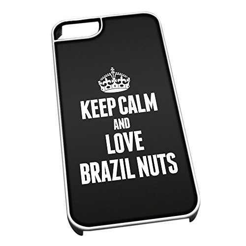 Bianco cover per iPhone 5/5S 0859 nero Keep Calm and Love Brazil titanio
