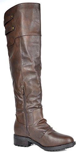 TRAUM-PAAR-Frauen Kniehohe und herauf Reitstiefel (breites Kalb verfügbar) Supra-braun