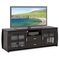 Sonax B-601-BWT Washington 59-Inch Wood Veneer TV/Component Bench, Soft Black