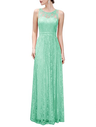 Wedtrend Women's Long Floral Lace Dress Sleeveless Semi-Formal Dress WTL10007MintM