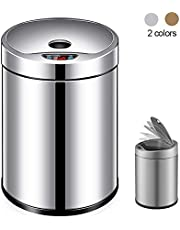 Stainless Steel Smart Kitchen Trash Can, 12 Liter Non-Touch Automatic Trash Anti-Fingerprint - for Keuken Home Office, Silver lili (Color : Silver)
