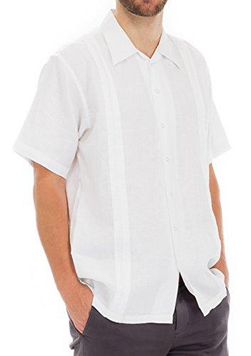 Squish 100% Linen Guayabera Shirt, White, 3XL