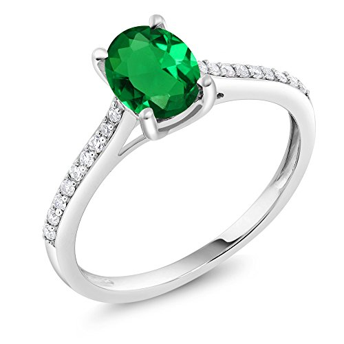 10K White Gold Pave Diamond Engagement Solitaire Ring set with 8x6mm Oval Simulated Emerald 1.10 ct (Size 8) - Sterling 10 X 8 Emerald