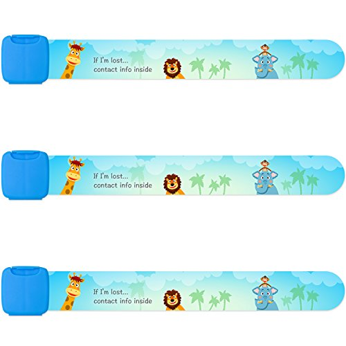 Reusable Child Safety ID Bracelets, Waterproof Adjustable Travel ID Wristbands for Kids, One Size Fits All, Blue, Pack of 3 ()