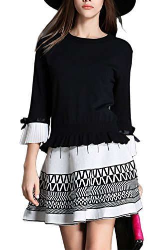 2 piezas de mujer vestido de traje (manga 3/4 Casual chaqueta + Chevron Mini falda) Black