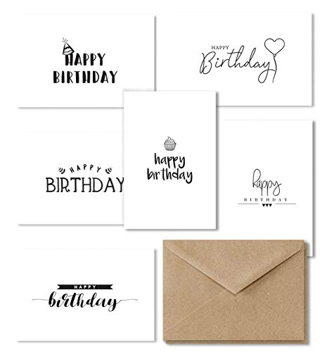 (Happy Birthday Cards Assortment, 36 Birthday Cards Bulk Box Set, Bday Greeting Card Variety Pack, Kids Birthday Cards, Great for Women and Men, Brown Kraft Paper Envelopes Included - 4x6 Inches)
