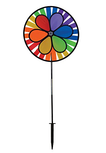 In the Breeze Rainbow Dazy Wheel Spinner - Ground Stake Included - Colorful Wind Spinner for your Yard and Garden -