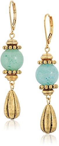 (1928 jewelry 14k gold dipped genuine semi precious gemstone aventurine drop earrings)