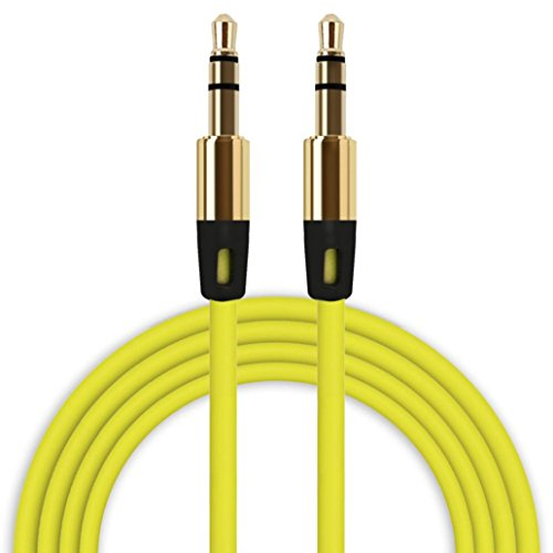 Iusun 3.5mm Stereo Auxiliary Cable Male to Male Flat Audio Music Aux Cord (Yellow)