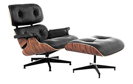 Amazoncom Mid Century Lux Leather Lounge Chair And Ottoman Black