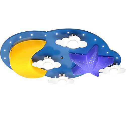 DGS Children 'S Room Creative Cartoon Children' S Ceiling Lamps Bedroom Lights Led Clouds Star Moon Lamps , 2 (Blue Light Cloud Bronze Four)