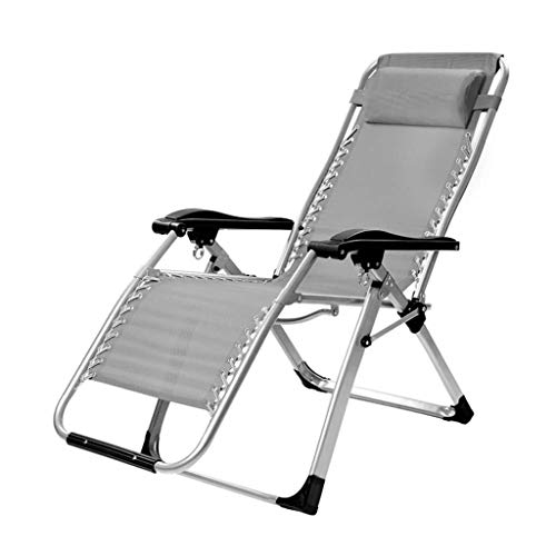 - HYZDY Folding Reclining Bed Multi Position Reclining Relaxer Chair with Headrest Suitable for Beach Lawn Lounge (Color : Gray)
