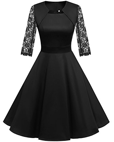 Homrain Women's 1950s Retro Vintage A-Line Long Sleeves Cocktail Swing Party Dress Black-B L ()