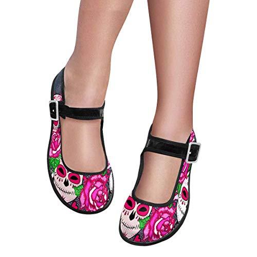 (INTERESTPRINT Women's Comfy Mary Jane Flats Walking Casual Shoes US8 Sugar Skull and Pink Roses)