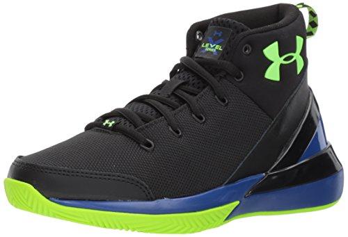 Under Armour Boys' Grade School X Level Ninja Basketball Shoe, Black (002)/Team Royal, 4