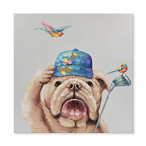 (SEVEN WALL ARTS - Modern Animal Dog Painting Canvas Wall Art Colorful Bulldog Playing Golf with a Bird Modern Abstract Artwork for Home Decor 32 x 32 Inch)
