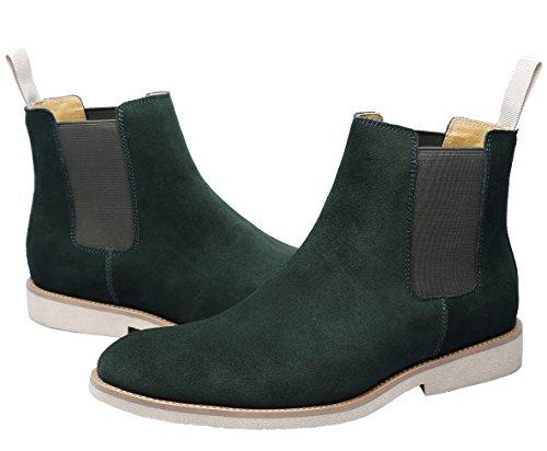 Pioggia Polacchine Chelsea Pelle Verde Tacco Verde Uomo Santimon Scarpe Invernali Nero Stivaletti Boots Marrone YqWTZ