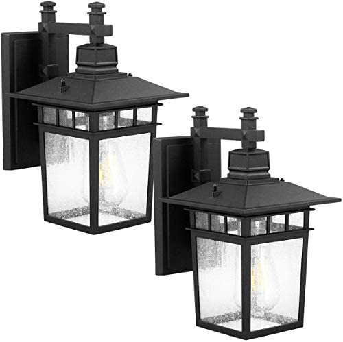 Outdoor Porch Lights,Wall Mount Light Fixtures,Classical Led Wall Lantern Lamps Lights,Black Finish