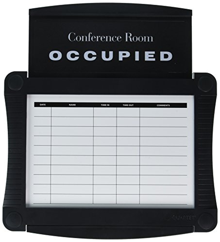 Quartet Conference Room Scheduler, 14.25 x 15.5 Inches, Black - Room Sign Conference