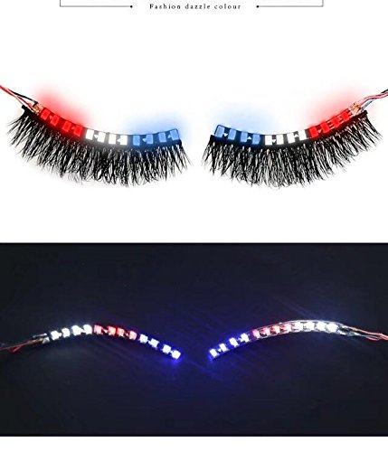 Led Lashes Light 7 Colors Sound Control Dazzle Eyeshadow Interactive Eyelashes Lamp for Halloween Costume Party Nightclub Multi Color(red blue white)
