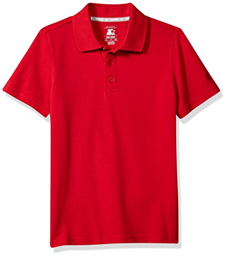 Starter Boys' Short Sleeve Performance Pique Polo, Amazon Exclusive, Team Red, M (8/10) ()