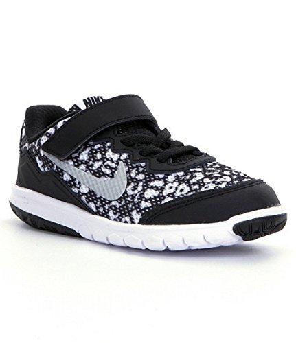 Nike Flex Experience 4 Girls Running Shoes (12 Little Kid M, Black/Metallic Silver )
