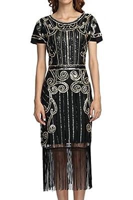 1920s Vintage Inspired Sequin Embellished Fringe Long Gatsby Flapper Dress