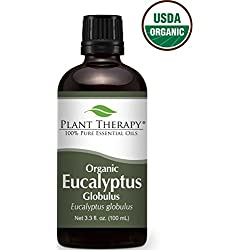 Plant Therapy USDA Certified Organic Eucalyptus Essential Oil. 100% Pure, Undiluted, Therapeutic Grade. 100 mL (3.3 Ounce).