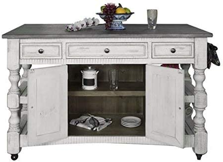 Crafters and Weavers Greenview Rustic Farmhouse Kitchen Island