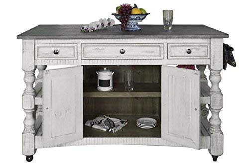 Crafters a Weavers Greenview Rustic Farmhouse Kitchen Island, Solid Wood
