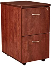 Lorell Mobile Pedestal, File/File, 16 by 22 by 28-1/4-Inch, Cherry