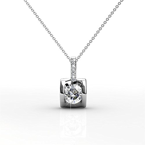 (Cate & Chloe Billie Inspired Solitaire Pendant Necklace, Women's 18k White Gold Plated Necklace with a Sparkling Round Cut Swarovski Crystal Stone, Silver Pendant Necklace for Women)