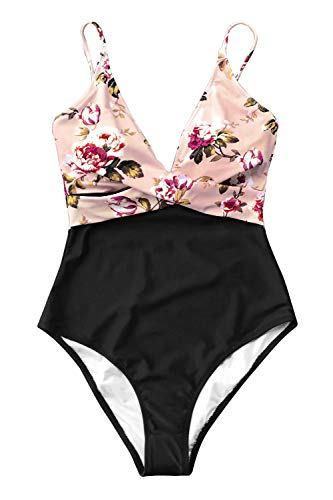 CUPSHE Women's Pink Blossom Floral V Neck High Leg One-Piece Swimsuit Small