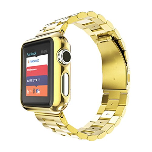 Apple Watch Band, Creazy Stainless Steel Strap Watch Band+Adapter+Case Cover for Apple Watch 42mm (Gold)