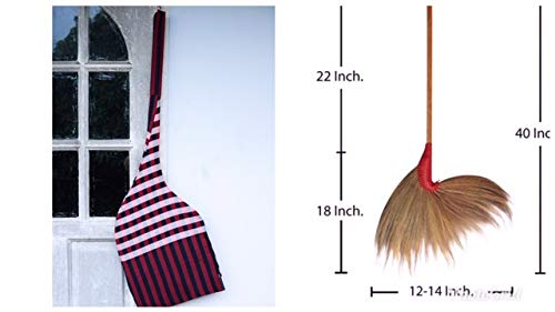 Natural Grass Broom 100% Handmade with Bamboo Broomstick Handle and Nylon Hand Grip - Thai Broom for Indoor and Outdoor Use - Soft, Large, Wide, Vintage and Decorative Natural Asian Broom