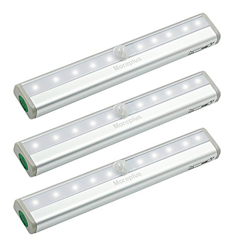 Moreplus Motion Sensor Lights, 10 LED Battery Operated Portable Wireless Motion Nightlight Stick-on with Magnetic Strip for Cabinet Night Stairway Closet Light Bar (White, 3 Pack)